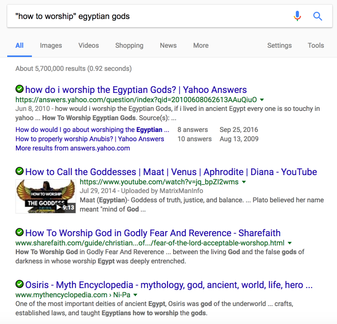My search for how to worship Egyptian gods.