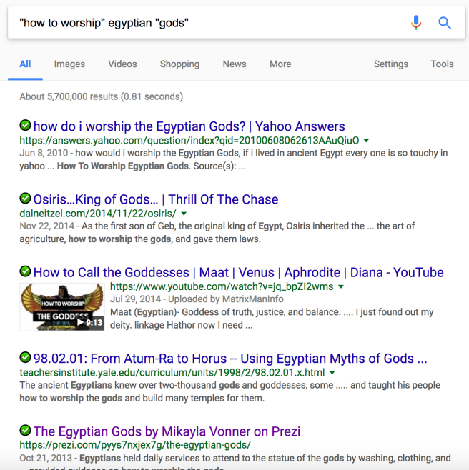 A search for how to worship Egyptian gods that uses plural gods.