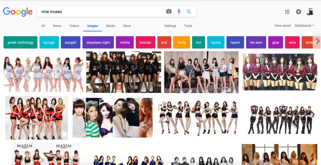 When you search for the Nine Muses, you get the girl band.