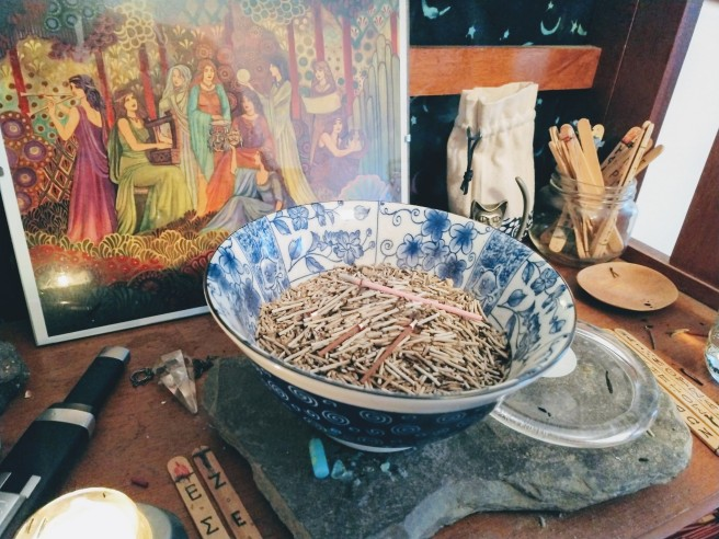My main shrine with incense burning and an 8x10 framed image of the Mousai.