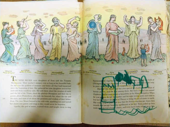 The Nine Mousai, an illustration in color. There's typed writing below. Someone has colored over something in green marker.